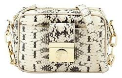 NEW VERSACE COLLECTION SNAKE EMBOSSED LEATHER CROSSBODY BAG BEIGE