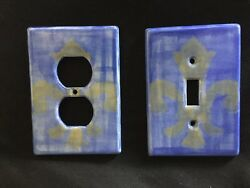 Set of 2 Hand Painted Ceramic Switch Plate Cover ONE OUTLET BLUE