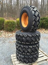 4- 14-17.5 Carlisle Ultra Guard MX Skid Steer Tires wheelsrims for Case 14X17.5