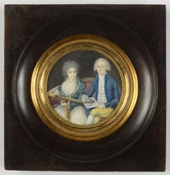 Antoine Trignard Young Married Couple Interesting Miniature 1788