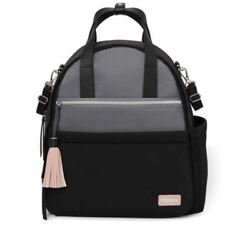 SKIP HOP NOLITA Neoprene Faux Leather Straps Baby Diaper Backpack Black Grey