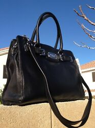 *CLASSIC AND SEXY***MICHAEL KORS HAMILTON BLACK LEATHER TOTE BAG PURSE HOT!!!