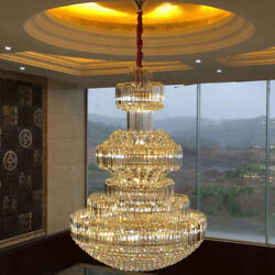 Top Large Led Crystal Ceiling Light Lobby Chandelier Luxury Hotel Pendant Lamp