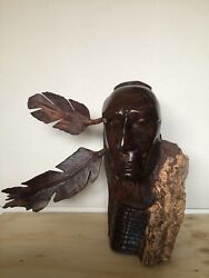 25h Ironwood Native American Sculpture Hand-carved By Sonoran Artist Large