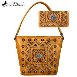 3 Clrs Trinity Ranch Tooled Partial Leather Montana West Hobo Bag - Wallet Set