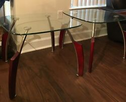 Glass Oval Coffee Tablewith Twomatching End Tables