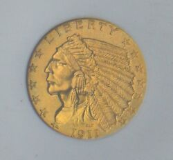 1911-D Indian Head $2.50 Gold NGC CAC MS-64