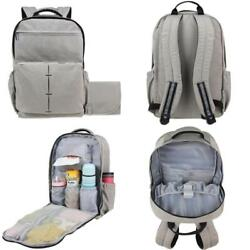 Nappy Diaper Bag Travel Backpack With Large Changing Pad Water Resistant Gray Us