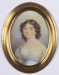 Rodolphe Bell D. 1849 Lady In White Gown Fine Miniature 1820