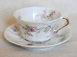 Fine China Set Of 4 Cups And Saucers Theodore Haviland Limoges France