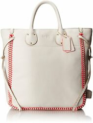 Coach Tatum Large Tote in Whiplash Leather #35156 ChalkNeon Pink