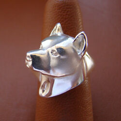 Sterling Silver AmStaff  Pit Bull Terrier Head Study Ring