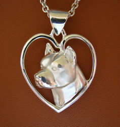 Large Sterling Silver Pit Bull Terrier AM Staff Head Study On A Heart Pendant