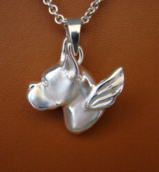 Large Sterling Silver Boxer Head Study Angel Pendant With Cropped Ears