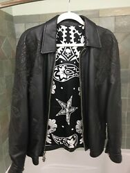 Chrome Hearts Rock Andlsquonandrsquo Roll Black Panther Rose Guitar Rock Leather Jacket