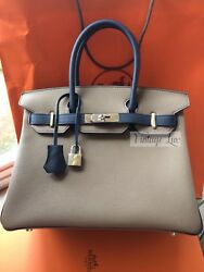 Hermes VIP Birkin 30 Bicolor Horseshoe Edition Etoupeblue Brand New In Box