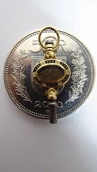 Rare Relic Antique Clock Key Mainspring Winding Watch Gold Inlay Old Jewelry