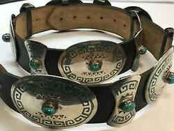 Antique Silver Belt 925 482.7g INLAY Turquoise Old Pawn CONCHO Estate Gem Stone