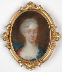 Portrait Of A Royalty , Oil On Silver Miniature, 1.h. Of The 18th Century