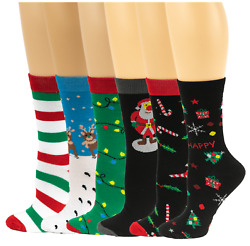 Sumona 6 Pairs pack Women Bright Colorful Fancy Design Novelty Crew Socks 9-11