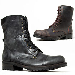 Newstylish Mens Fashion Shoes Distressed Crack Leather Lace-up Biker Boots