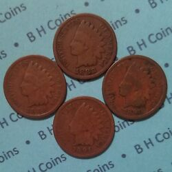 4various 1887-94 Indian Head Cents, Ag-vg, Free Add'l Sandh,u.s. Pennycoins Lot