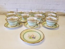 Royal Stafford English Bone China Windsor 12 Cups And Saucers Green Floral