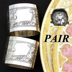 Pair 2 Antique French .800 Nearly Sterling Silver Napkin Rings, Guilloche
