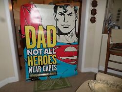 Rare Hallmark Superman And Batman Two Sided Point Of Purchase Poster 64 By 48