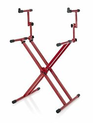 Gator - Gfw-key-5100xred - Deluxe Two Tier X Style Keyboard Stand - Nord Red