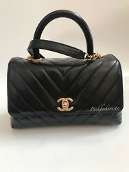 Chanel Coco Handle Black Quilted Chevron Calfskin Flap Bag Gold GHW Hardware