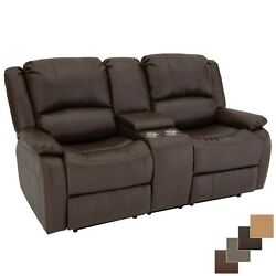 Recpro Charles 70 Double Rv Wall Hugger Recliner Mahogany Sofa With Console