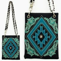 Black Blue Aztec Design Western Fashion Studs Cell Phone CaseMini Messenger Bag