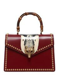 GUCCI Studded Broche Oxblood Leather Top Handle Bag