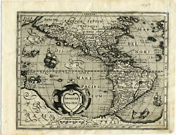 1607 Genuine Antique Map N And S America. Huge S Continent. By Mercator/hondius