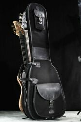 Harvest Fine Leather Black Buffalo And Canvas Bag For Two Electric Bass Guitars