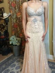 Shawn Yearick Coral Crystal Pageant Gown Size 0