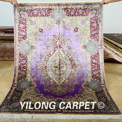 Yilong 4and039x6and039 Classic Silk Rugs Handmade Purple Carpets Classic Hand-knotted 0677
