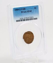 1909 S Vdb Lincoln Cent Pcgs Xf45