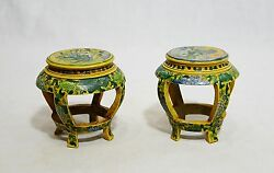 Pair Of Chinese San-cai Porcelain Table Ornament  M255