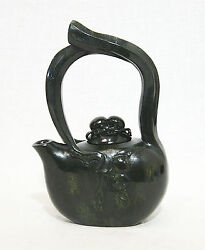 Nice Hand Carved Chinese Dark Green Spinach Jade Teapot