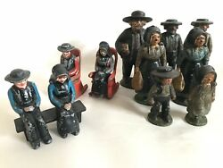 Lot Of 14 Vintage Antique John Wright Cast Iron Amish Figures Made In Usa