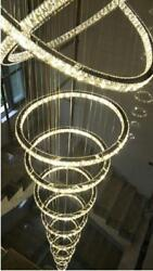 2/4/5/7/9 Rings Led Crystal Pendant Lamp Living Room Stair Chandelier Customized
