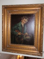 Antique Original Oil Painting St. Patrickand039s Violin Player 1800and039s A. Werner