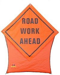 Road Work Ahead Portable Safety/construction Nylon Pop Star Sign 36x36