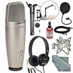 Samson CO1U Pro USB Studio Condenser Microphone Broadcasting Accessory Bundle Mi