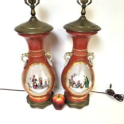 Pair Of French Old Paris Porcelain Vase Lamps W/ Egyptian King Pyramid