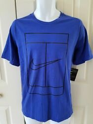 Nike Menand039s Court Dry Graphic Tennis T‑shirt Vents On Back‑ Blue 830925 452