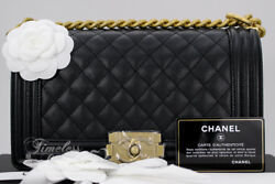 NEW CHANEL 18P BLACK CAVIAR QUILTED BOY FLAP BAG GHW