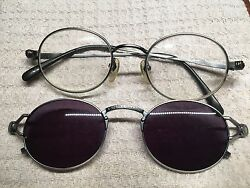 Vintage Jean Paul Gaultier Silver - Pewter 56-7110 Eyeglass With Sunglass Clip